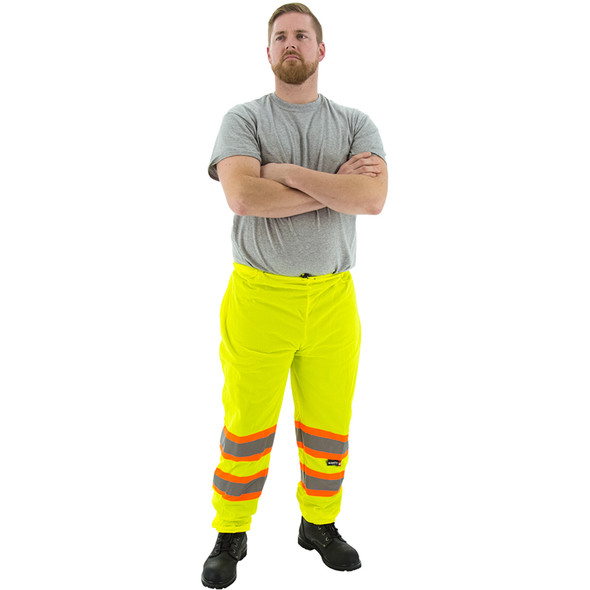Majestic Hi Vis Class E Yellow Mesh Pants with DOT Striping 75-2501