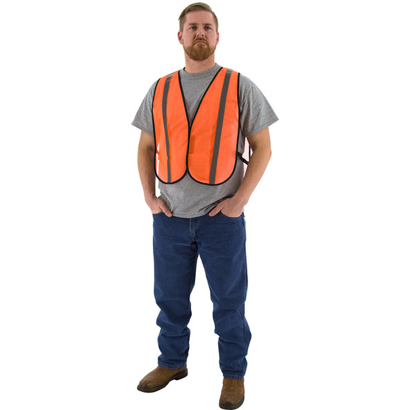 Majestic Case of 50 Non ANSI Hi Vis Orange Mesh Safety Vest 75-3004