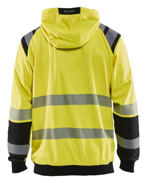Blaklader Class 3 Hi Vis Yellow Hooded Sweatshirt 344619743399 Back
