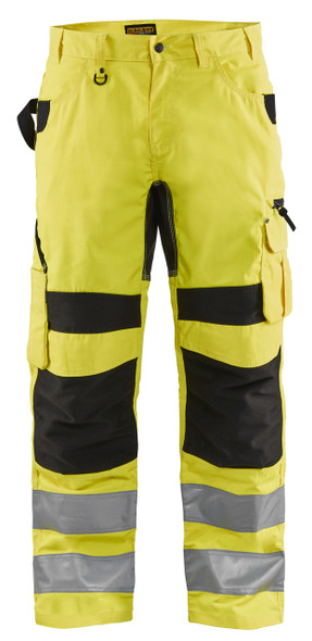 Blaklader Class E Hi Vis Yellow Black Bottom Rip Stop Pants 169918313399 Front