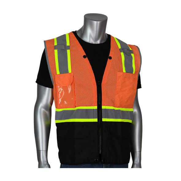 PIP Class 2 Hi Vis Orange Surveyors Vest with Ripstop Black Bottom 302-0650D