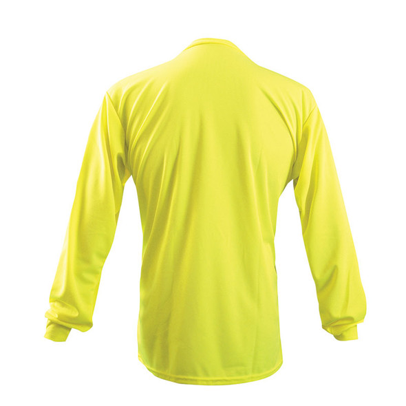 Occunomix Non-ANSI Hi Vis Moisture Wicking LS T-Shirt with UPF 30 Protection LUX-XLSPB Yellow Back