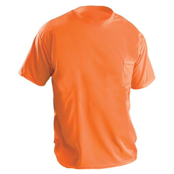 Occunomix Non-ANSI Hi Vis Moisture Wicking T-Shirt 30 UPF Protection LUX-XSSPB Orange Front