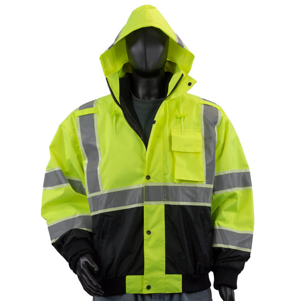 Alpha Workwear Class 3 Hi Vis Glow in Dark Bomber Jacket A262 with Hood