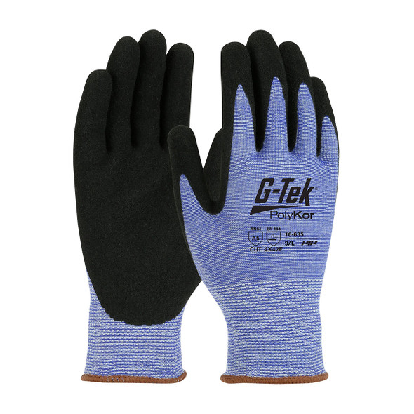 PIP Box of 72 Pair A5 Cut Level G-Tek PolyKor Nitrile Coated Blue Gloves 16-635