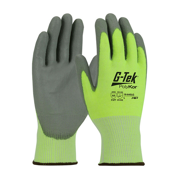 PIP Box of 72 Pair A5 Cut Level G-Tek PolyKor Nitrile Coated Lime Gloves 16-645LG