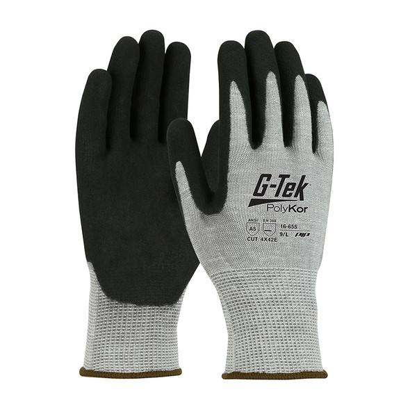 PIP Box of 72 Pair A5  Cut Level G-Tek PolyKor Nitrile Coated Gloves 16-655
