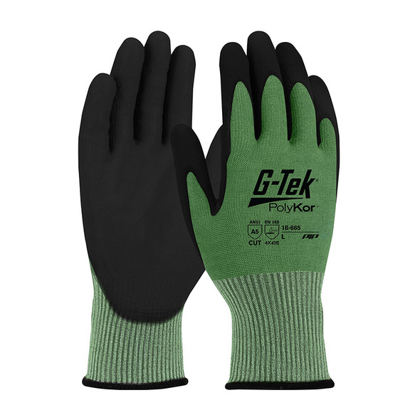 PIP Box of 72 Pair A5 Cut Level G-Tek PolyKor Nitrile Coated Green Gloves 16-665