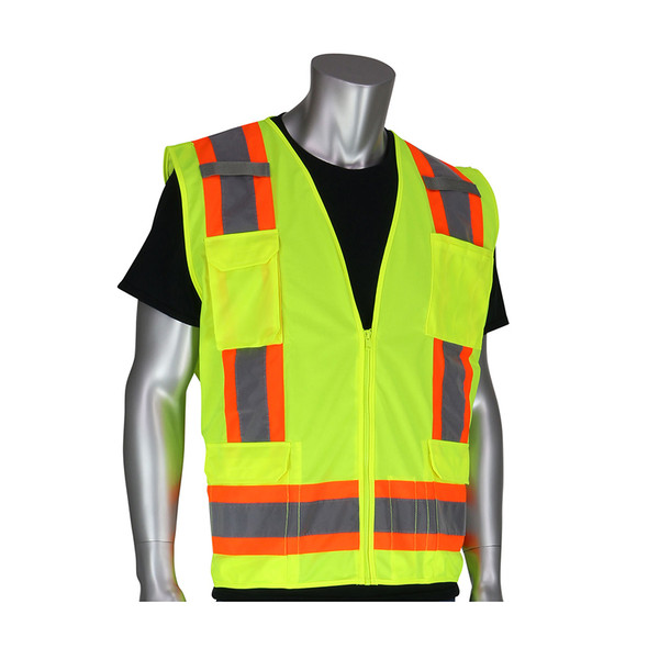 PIP Class 2 Hi Vis Two-Tone 11 Pocket Surveyors Vest 302-0500 Yellow Front