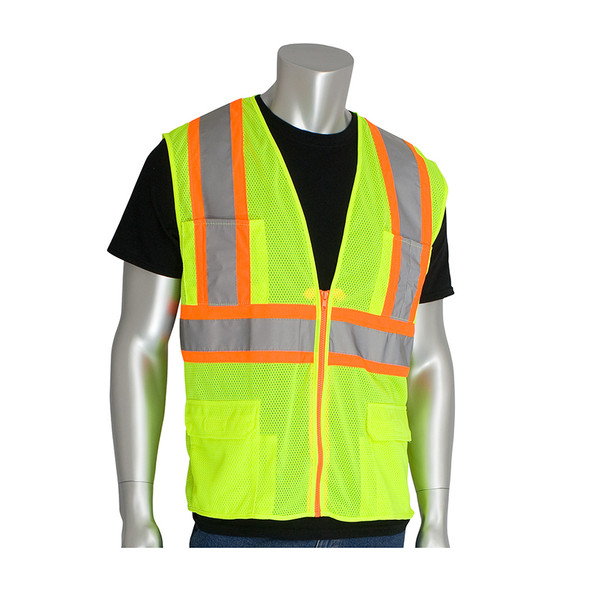 PIP Class 2 Hi Vis Two-Tone 11 Pocket Mesh Safety Vest 302-MAPM