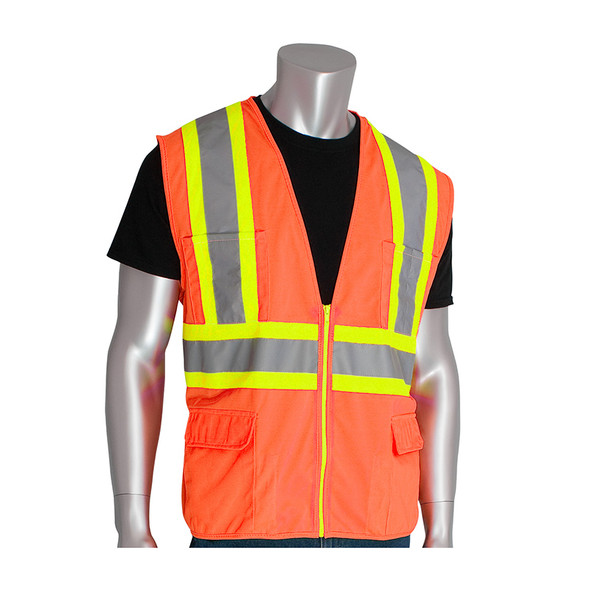 PIP Class 2 Hi Vis Two-Tone 11 Pocket Solid Surveyors Vest 302-MAP