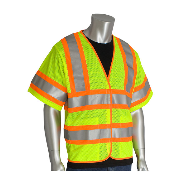 PIP Class 3 Hi Vis ASTM D6413 Treated Two-Tone Mesh Vest 305-HSVPFR Lime Yellow