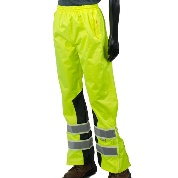 Alpha Workwear Class E Hi Vis Glow in Dark Illuminated Rain Pants A266 Front