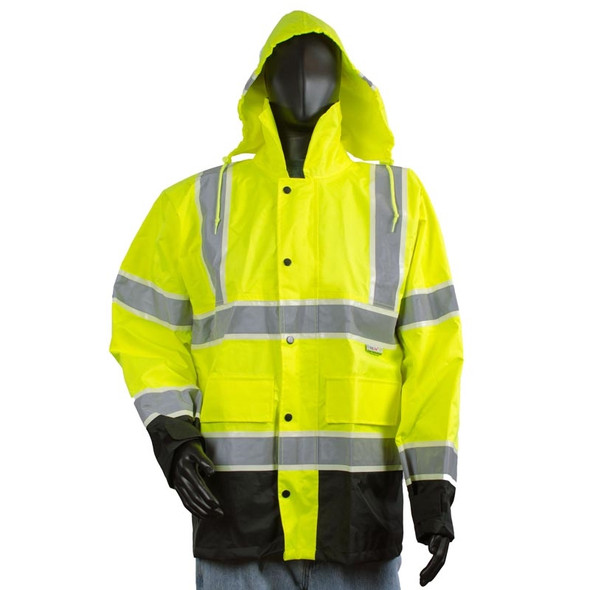 Alpha Workwear Class 3 Hi Vis Illuminated Glowing Hi Vis Rain Safety Jacket A268 Front