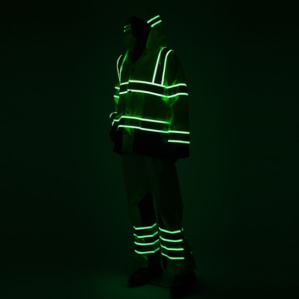 Alpha Workwear Class 3 Hi Vis Illuminated Glowing Hi Vis Rain Jacket A268 Illuminated