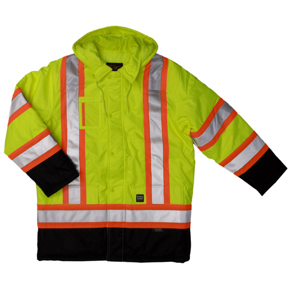 Work King Safety Class 3 Hi Vis X-Back Black Bottom Trim Parka S176 Fluorescent Green Front