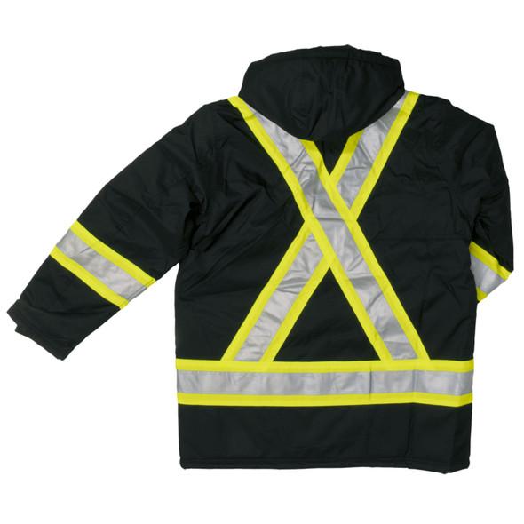 Work King Safety Enhanced Vis X-Back Black Parka S176-BLK Back