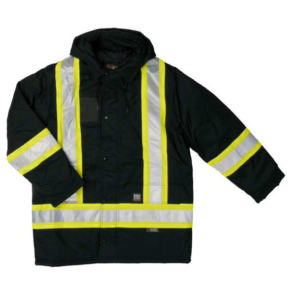 Work King Safety Enhanced Vis X-Back Black Parka S176-BLK Front