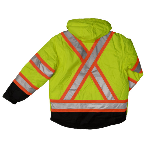 Work King Safety Class 3 Hi Vis X-Back Black Bottom Trim 5-in-1 Jacket S426 Fluorescent Green Back