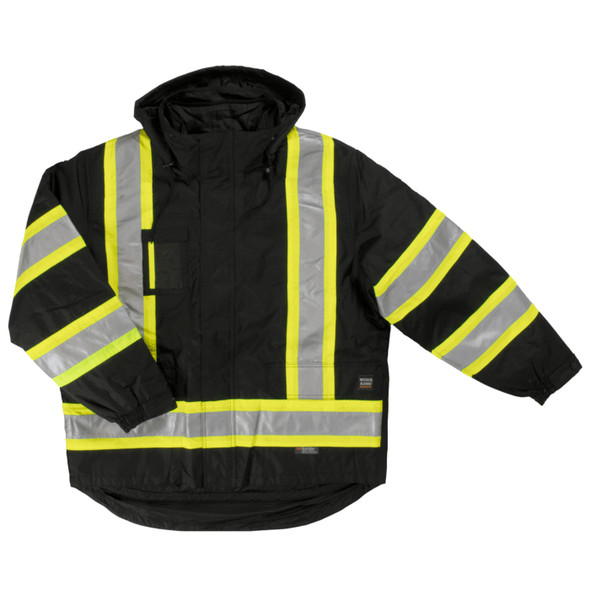 Work King Safety Class 1 Enhanced Vis Black X-Back 5-in-1 Jacket S426-BLK Front