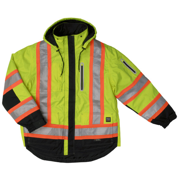 Work King Safety Class 3 Hi Vis X-Back Black Bottom Trim 4-in-1 Ripstop Jacket S187 Fluorescent Green