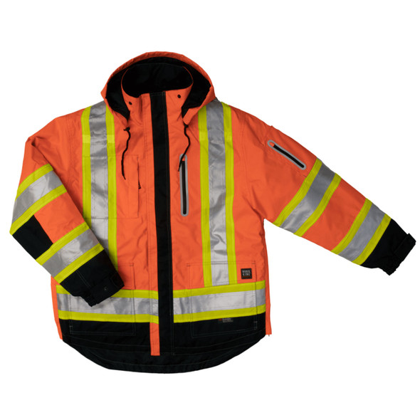 Work King Safety Class 3 Hi Vis X-Back Black Bottom Trim 4-in-1 Ripstop Jacket S187 Fluorescent Orange