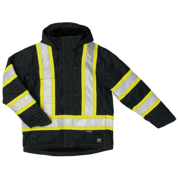 Work King Safety Enhanced Vis X-Back Black Waterproof Jacket S245-BLK Front