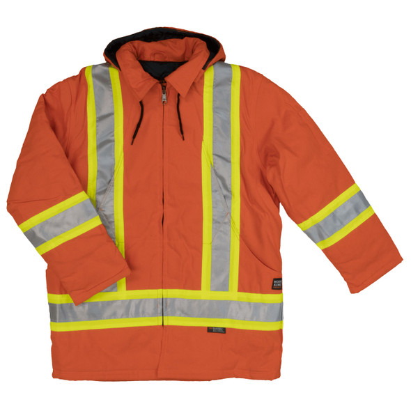 Work King Safety Class 1 Hi Vis Two-Tone X-Back Orange Cotton Duck Parka S157 Front