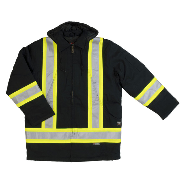 Work King Safety Class 1 Hi Vis Two-Tone X-Back Black Cotton Duck Parka S157-BLK Front