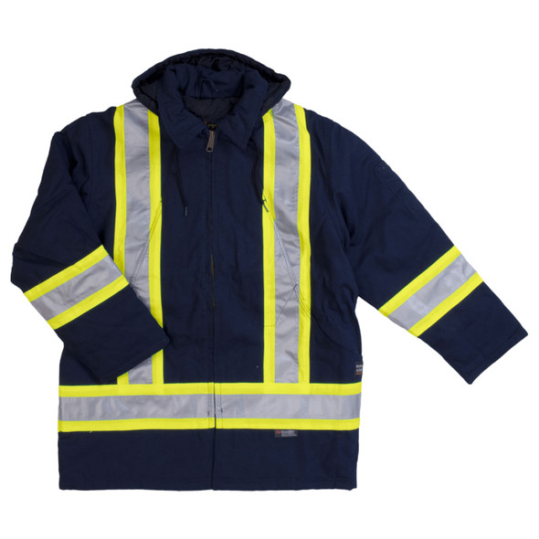 Work King Safety Class 1 Hi Vis Two-Tone X-Back Navy Cotton Duck Parka S157-NVY Front
