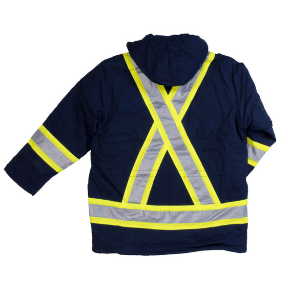 Work King Safety Class 1 Hi Vis Two-Tone X-Back Navy Cotton Duck Parka S157-NVY Back