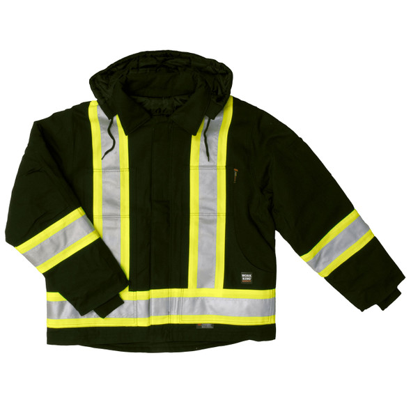 Work King Safety Class 1 Hi Vis Black Two-Tone X-Back Cotton Duck Jacket S457-BLK Front