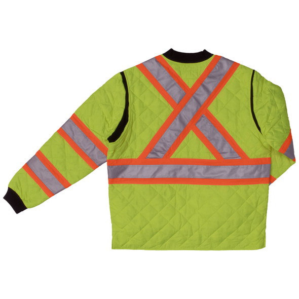 Work King Safety Class 2 Hi Vis Two-Tone X-Back Quilted Jacket S432FLGR Florescent Green Back