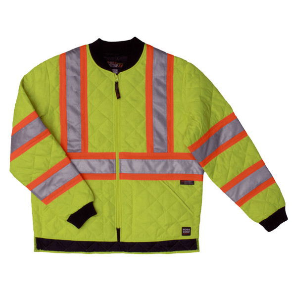 Work King Safety Class 2 Hi Vis Two-Tone X-Back Quilted Jacket S432FLGR Florescent Green Front