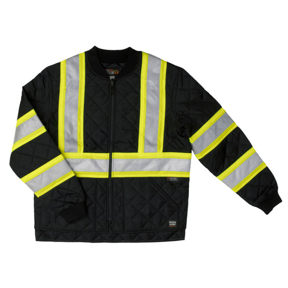 Work King Safety Class 1 Enhanced Vis Two-Tone X-Back Black Quilted Jacket S432-BLK Front