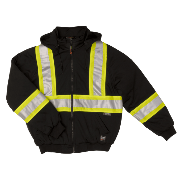 Work King Safety Class 1 Enhanced Vis Black X-Back Insulated Hoodie S474-BLK Front