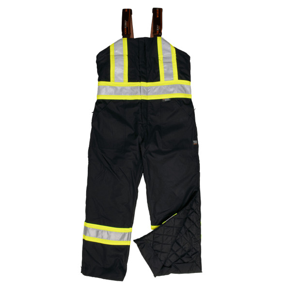 Work King Safety Type E Enhanced Vis Black Two-Tone X-Back Lined Overalls S798-BLK Front