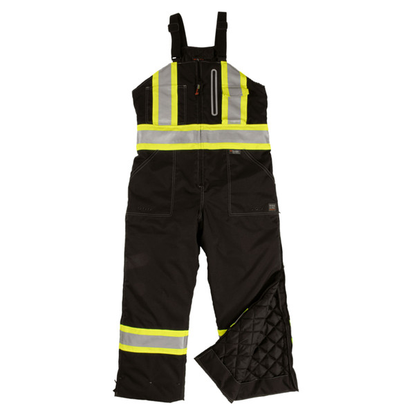 Work King Safety Type E Enhanced Vis Two-Tone X-Back Black Waterproof Insulated Overalls S876-BLK Front