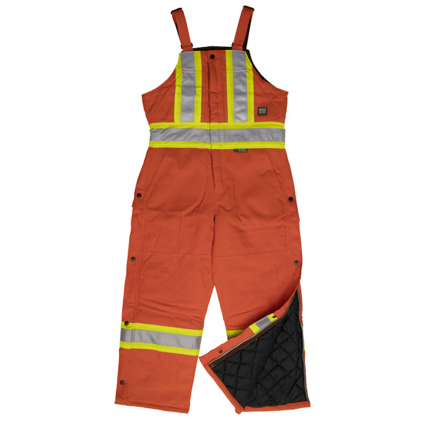 Work King Safety Class 1 Hi Vis X-Back Two-Tone Orange Cotton Duck Lined Overalls S757 Front
