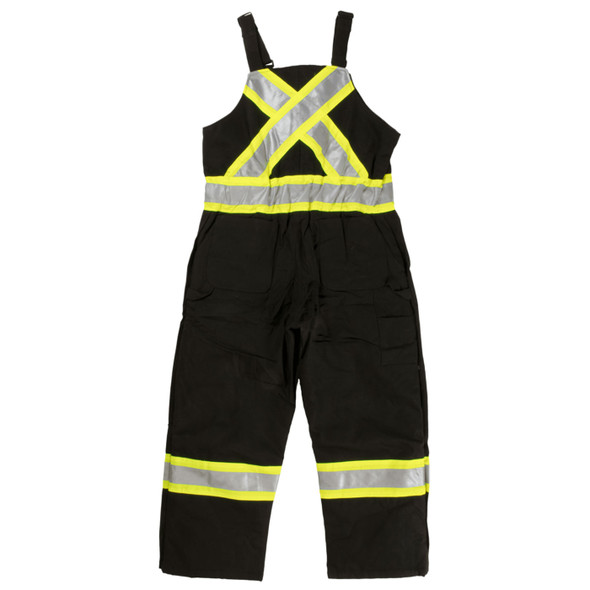 Work King Safety Class 1 Enhanced Vis X-Back Two-Tone Black Cotton Duck Lined Overalls S757-BLK Back