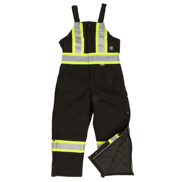 Work King Safety Class 1 Enhanced Vis X-Back Two-Tone Black Cotton Duck Lined Overalls S757-BLK Front