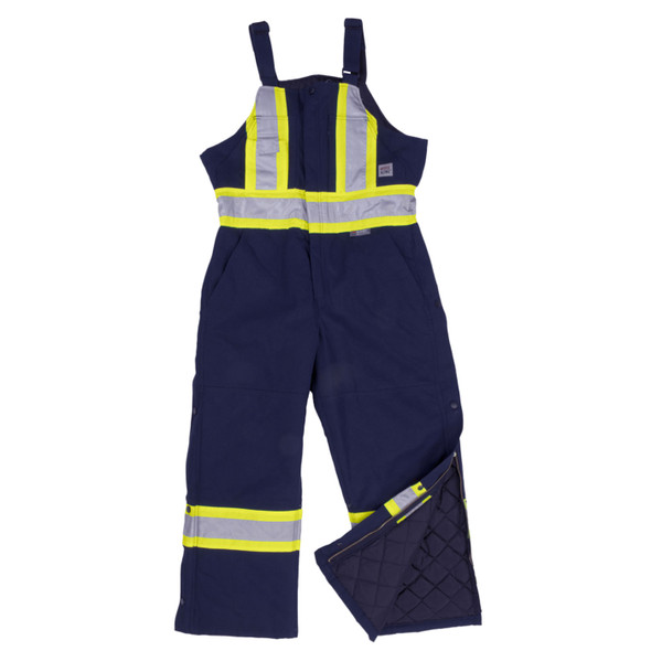 Work King Safety Class 1 Enhanced Vis X-Back Two-Tone Cotton Navy Duck Lined Overalls S757-NVY Front