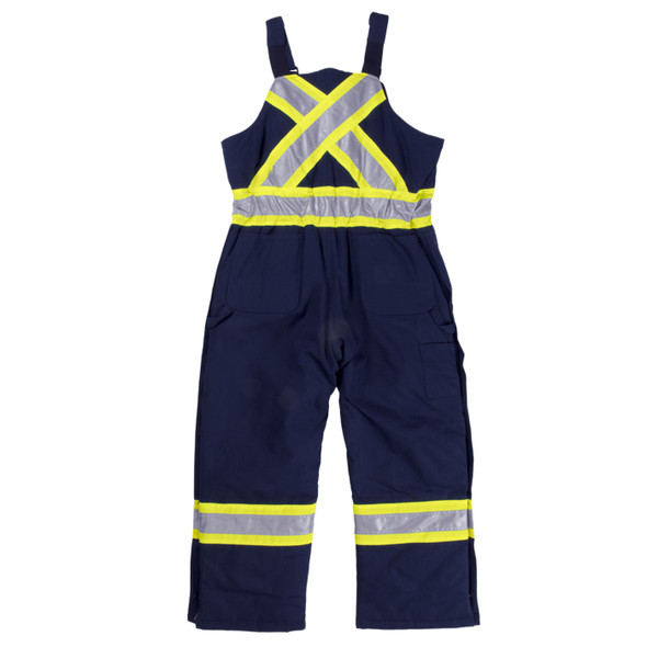 Work King Safety Class 1 Enhanced Vis X-Back Two-Tone Cotton Navy Duck Lined Overalls S757-NVY Back