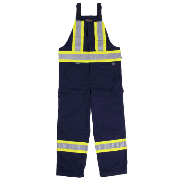 Work King Safety Class 1 Enhanced Vis Navy Two-Tone X-Back Overalls S769-NVY Front