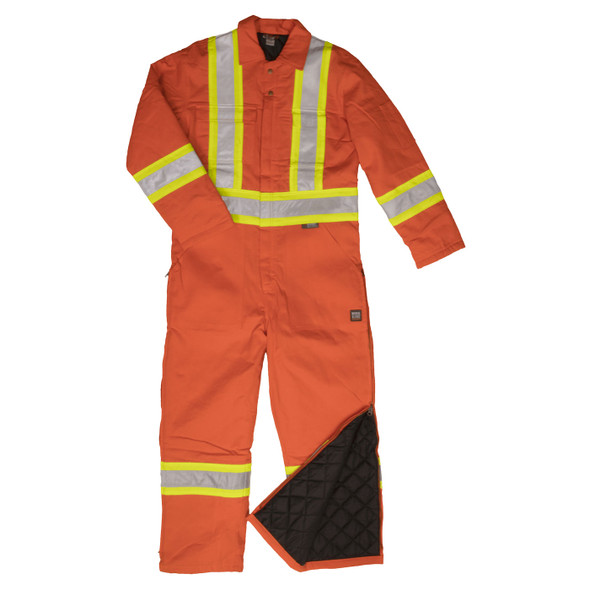 Work King Safety Class 1 Enhanced Vis X-Back Two-Tone Orange Lined Coveralls S787 Front