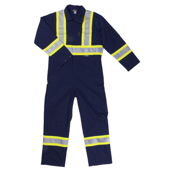 Work King Safety Non-ANSI Hi Vis X-Back Two-Tone Navy Lined Coveralls S787-NVY Front