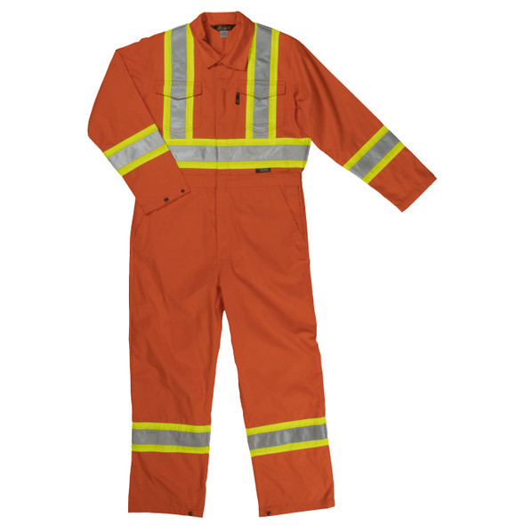 Work King Safety Non-ANSI Hi Vis X-Back Two-Tone Orange Coverall S792 Front