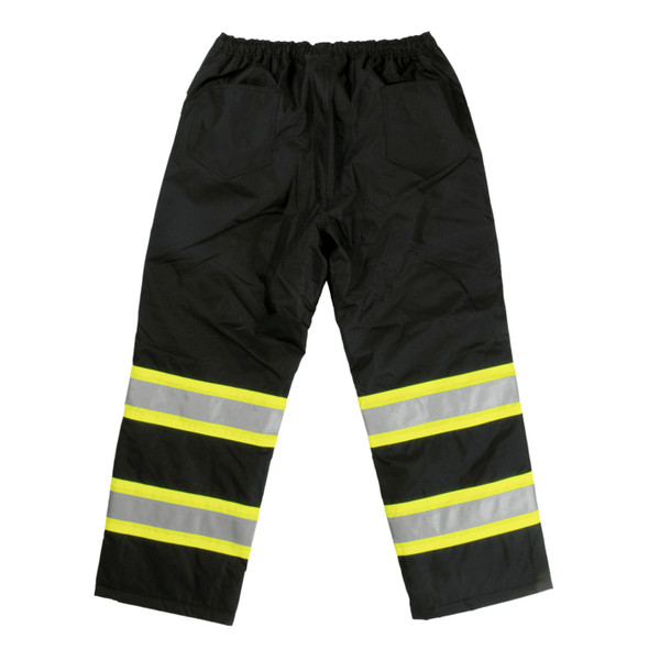 Work King Safety Class E Enhanced Vis Black Lined Pants S614-BLK Back