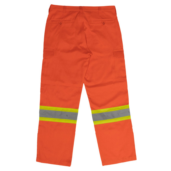 Work King Safety Class E Hi Vis Orange Two-Tone Cargo Work Pants SP01 Back