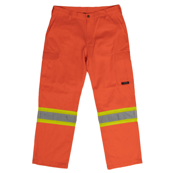 Work King Safety Class E Hi Vis Orange Two-Tone Cargo Work Pants SP01 Front